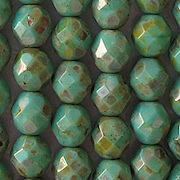 8mm Turquoise Picasso Faceted Round Beads [25]
