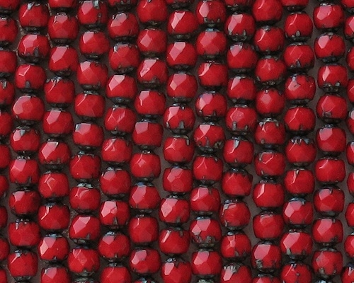 6mm Opaque Red Picasso Faceted 'Renaissance' Beads [50]