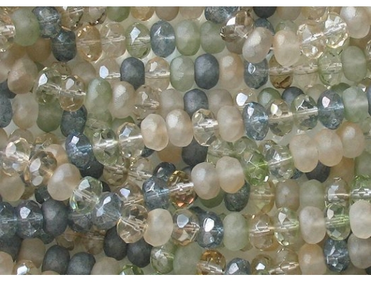 5x7mm 'Beach Glass' Faceted Rondelle Beads [25]