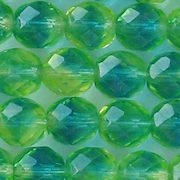 10mm Lime/Aqua Givre Faceted Round Beads [20] (see Defects)