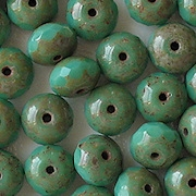6x9mm Greenish-Turquoise Picasso Faceted Rondelle Beads [25]