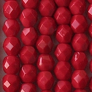 6mm Opaque Bright Red Faceted Beads [50] (see Comments)