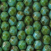 6mm Turquoise Picasso Faceted Beads [50]