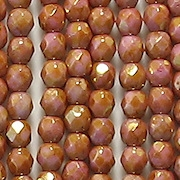 4mm Pink/Topaz Faceted Round Beads [100]