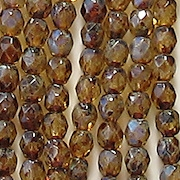 4mm Light Topaz Picasso Faceted Beads [100]