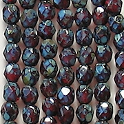 4mm Ruby Red Picasso Faceted Round Beads [50] (odd lot)