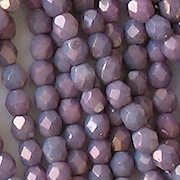 4mm Opaque Lavender Luster Faceted Round Beads [100]