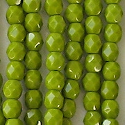 4mm Opaque Olive Green Faceted Round Beads [100]