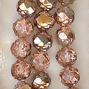 7x8mm 'Gold Apollo' Rosebud Faceted Beads [25]