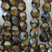 6mm Dark Brown Tiger Faceted Round Beads [50]