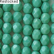 6mm Greenish-Turquoise Faceted Beads [50]