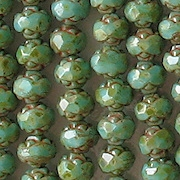 5x6mm Turquoise Picasso Rosebud Faceted Beads [50]