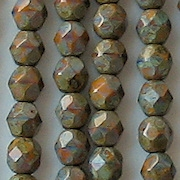 6mm Brown Picasso Faceted Round Beads [50] (see Comments)