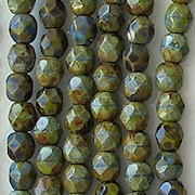 4mm Olive Green Picasso Faceted Round Beads [100]