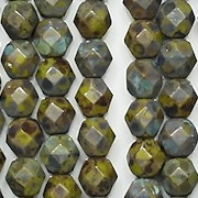 6mm Opaque Olive Green Picasso Faceted Round Beads [50]