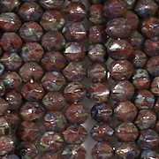 4mm Brown Umber Picasso 'English Cut' Beads [100]