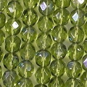 6mm Olive Green/Blue Iris Faceted Round Beads [50]