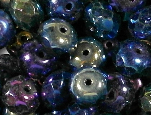 6x9mm Dark Iris Faceted Rondelle Beads [50] (see Defects)
