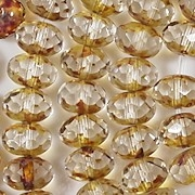 6x8mm Clear/Amber Picasso Faceted Rondelle Beads [25]