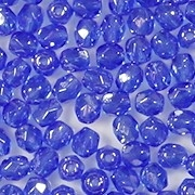 4mm Sapphire Blue Luster Faceted Round Beads [100]