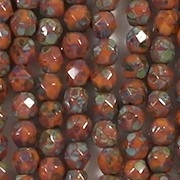 4mm Opaque Orange Picasso Faceted Round Beads [100]