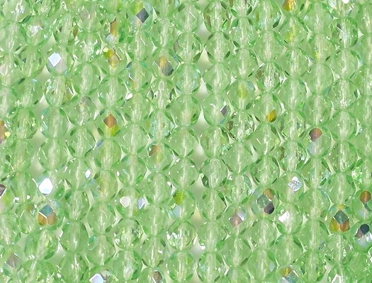 6mm Light Green AB Faceted Round Beads [50]