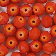 6x8mm Opaque Orange Faceted Rondelle Beads [50]