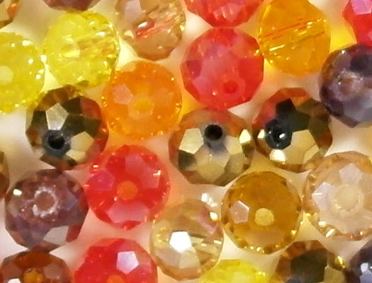 5x8mm Mixed Orange/Red Faceted Rondelle Beads [50]