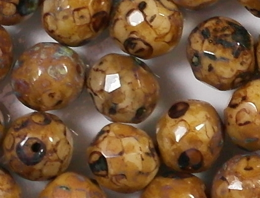 8mm Beige Picasso Faceted Round Beads [20]