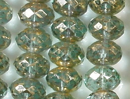 6x9mm Aqua Gold Mottled Faceted Rondelle Beads [25]