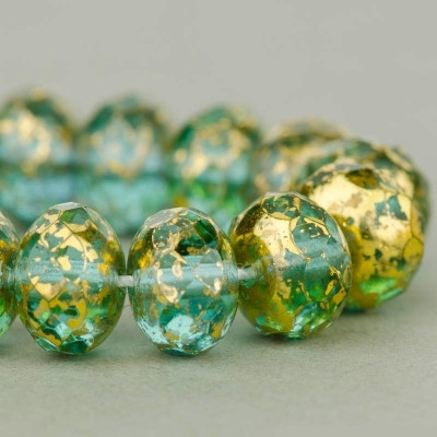 6x9mm Aqua Gold Mottled Faceted Rondelle Beads [25]