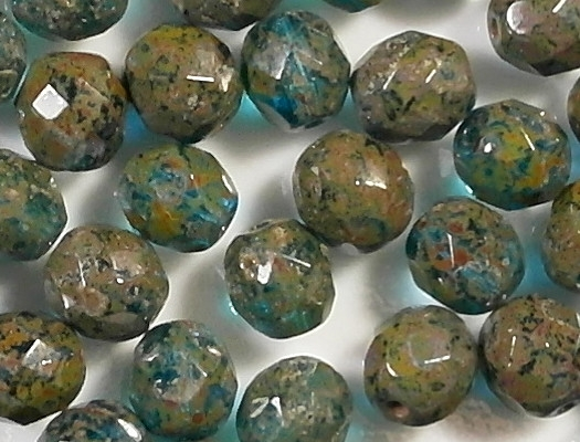 8mm Aqua Picasso Faceted Round Beads [25]