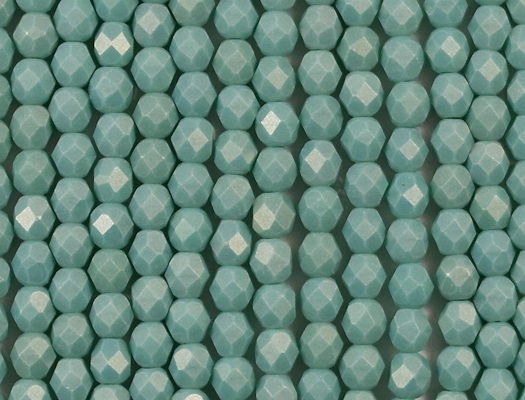 6mm Greenish Turquoise/Gold Coated Faceted Round Beads [50] (see Comments)
