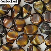 10mm Dark Brown Tiger Pinched Oval Beads [50]
