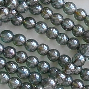 6mm Forest Green Luster Round Beads [50]