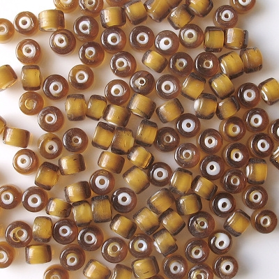 5x7mm Topaz/White Cylinder Beads [50]