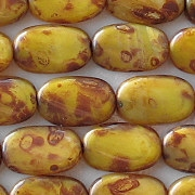 14mm Yellow Picasso Twisted Oval Beads [25]