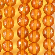 8mm Orange/Gold Speckled Round Beads [50]