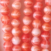 8mm Orange/White Striped Beads [50]