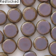 10mm Amethyst Picasso Polished Coin Beads [20]