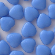 10mm Opaque Blue Flat Heart Beads [50]