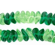 4x9mm Light Green/Emerald Wavy Rondelle Beads [50]