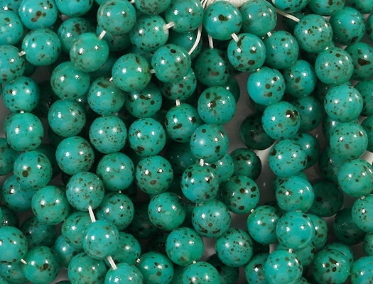 8mm Turquoise Speckled Coated Round Beads [50]