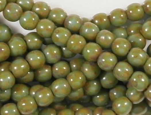 4mm Green Picasso Round Beads [100]