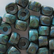 9mm Turquoise Striped Pony Beads [50]