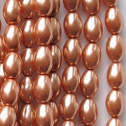 8mm 'Cinnamon' Oval Glass Pearls [50]