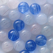 8mm White & Blue Swirl Beads [50]