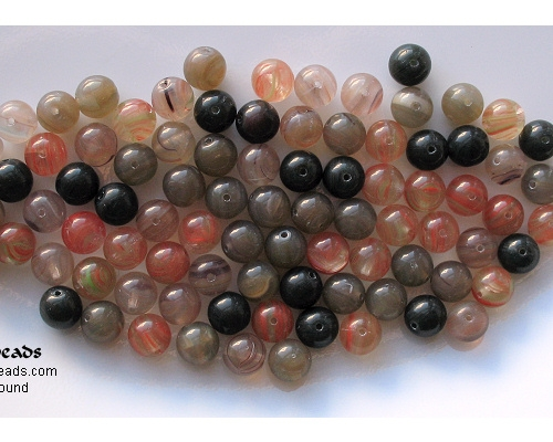 8mm Red/Gray/Black Mixed Round Beads [50]