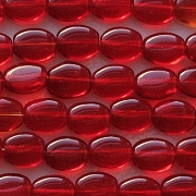 8mm Ruby Red Flat Oval Beads [50]