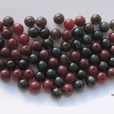 8mm Red/Gray Mixed Round Beads [50]